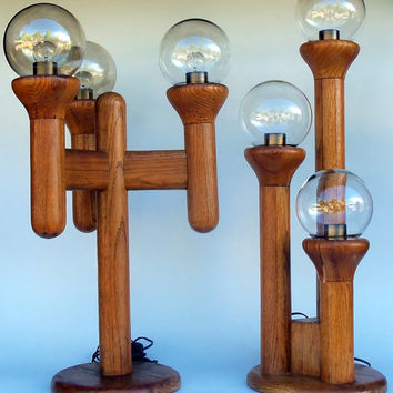 Rare Table Lamps Pair Wood & Globes Original Mid Century Modern Lights Funky Cosmic Atomic Dimming Lamp Furniture Office Living Room Decor