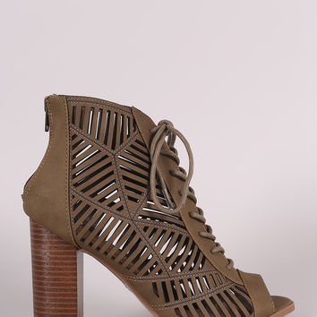 Delicious Geo Cutout Lace-Up Chunky Heeled Booties