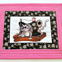 Cat Mug Rug, Quilted Mug Rug, Kitty Cat Snack Mat, Pink Black Mug Rug, Candle Mat, Gift for Quilter, Quiltsy Handmade