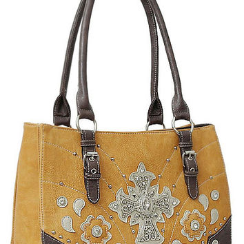 Cross Leather Designer Fashion Bling Western Stitch Rhinestone Stud Flower Trendy Purse Handbag Yellow Brown