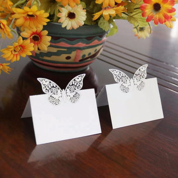 50 PCS Laser Cut Elegant Butterfly Wine Glass Place Cards Wedding Table Seating Numbers for Wedding Party Festive Supplies