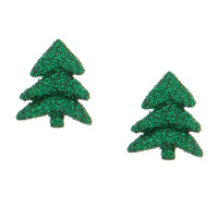 Glitter Christmas Tree Stud Earrings