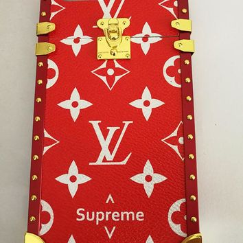 Supreme LV Red Monogram Metal Apple Iphone 6 6s Plus 7 Trunk Case