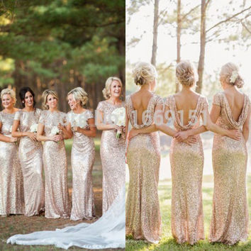 Free Shipping Mermaid Long Rose Gold Sequined Bridesmaid Dresses 2017 Short Sleeve Floor Length Prom Dress Wedding Party Dress