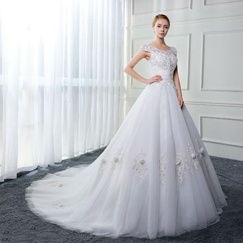 Cap Sleeves Wedding Dresses Applique Tulle Ball gown Wedding Gowns
