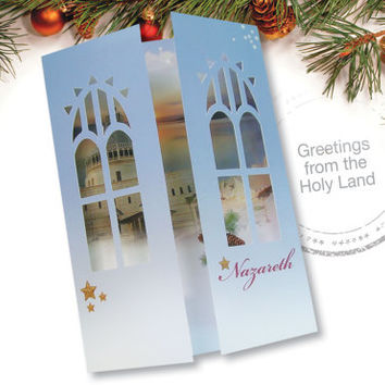 Nazaretrh Gift Card, Christian Art, 3D Cut Out Card, Window to Nazareth, Christmas Card, Art Card, Card from the Holy Land, Framed Card