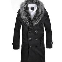 Men's Faux Fur Lapel Dress Jacket