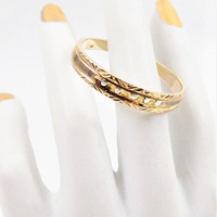 10K Gold Ring, Stackable Band, Textured Pattern, Vintage Jewelry Ring