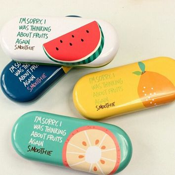 Creative Fruits Tin Glasses Case Desktop Storage Box School Office Supply Gift Stationery