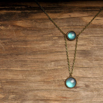 Moonlight necklace, moon necklace, statement necklace, full moon necklace, antique brass necklace, antique brass pendant, painted necklace
