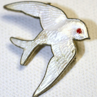 Vintage Brooch  White Guilloche Enamel Swallow Pin by patwatty