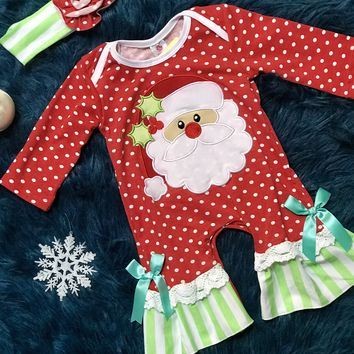 2018 Christmas Polka Dot Santa Infant Romper