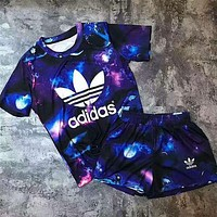 Adidas Fashion Women Loose Starlight Milky Way Print Sport Short Sleeve Top Shorts Sweatpants Set Two-Piece Sportswear Blue I