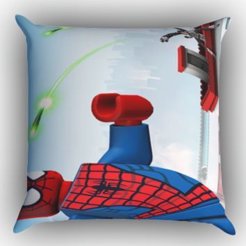 Lego Marvel Super Heroes Spiderman Y1225 Zippered Pillows  Covers 16x16, 18x18, 20x20 Inches