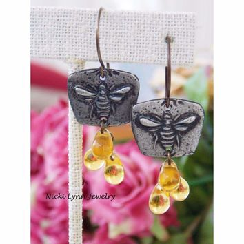 Artisan Honey Bee and Amber Glass Drop Earrings