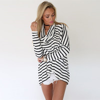 Striped Casual Plus Size High Neck Long Sleeves Blouse