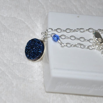Druzy Necklace, Silver Necklace, Adjustable, Sterling Silver, Druzy Pendant, Blue Druzy, Quartz Titanium Druzy