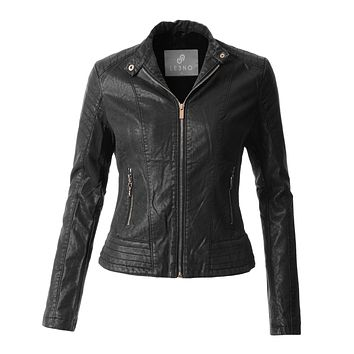 LE3NO Womens Sherpa Fur Lined Quilted Faux Leather Biker Moto Jacket