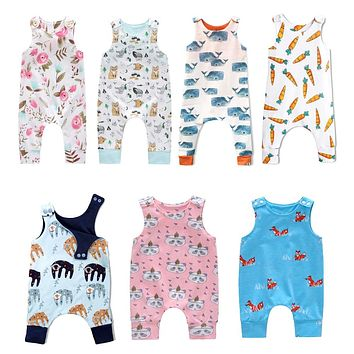 New Baby Newborn Kids Toddler Boys Girls Clothes Sleeveless Short and Long Romper Floral Elephant Jumpsuit Playsuit Sunsuit