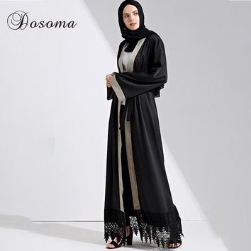 Muslim Maxi Dress Open Abaya Lace Jilbab Belt Long Robe Gowns Cardigan Ramadan Musical Kimono Arab Dubai Thobe Islamic Clothing