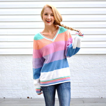 Vintage Gitano Pastel Striped Sweater Womens V Neck Pullover Colorful Striped Jumeper Hipster Tumblr Sweater Oversize Slouchy Pullover