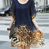 Puff Sleeve Leopard Print Chiffon Dress