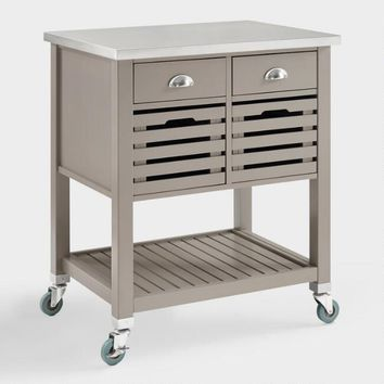 Gray Wood and Stainless Steel Top Vitale Kitchen Cart