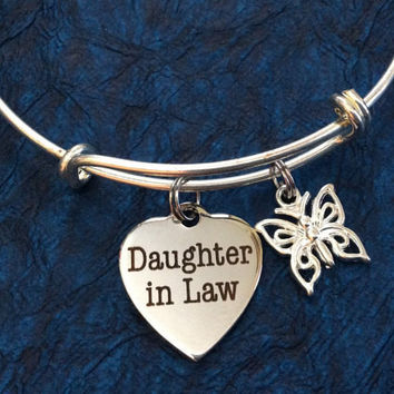 Daughter In Law with Butterfly Charm Bangle Adjustable Expandable Meaningful Gift Stainless Steel Charm