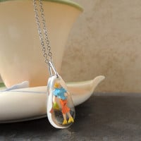 Retro Lady Necklace, Whimsical Figure in a Resin Pendant, Girl Woman Person Figurine, Resin Jewelry, Quirky Jewelry, Kitsch
