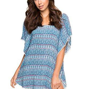 Hawaiian Tropic Picot Lace Trim Open Back Swimsuit Cover up Blue Multi Print