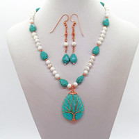 Tree of Life Turquoise White Magnesite Copper Necklace Earrings Set Natural Stone
