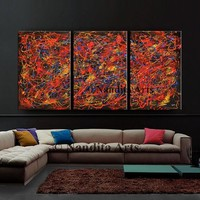 """Oil Painting, Red Jackson Pollock Look, 72"""" Painting on Canvas - Extra Large Abstract Art, Original Abstract Painting, Office Decor, Nandita"""