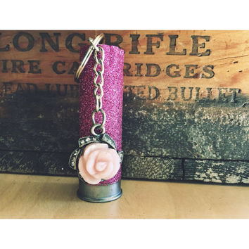 Hot Pink Glittered 12 Gauge Shotgun Shell Keychain