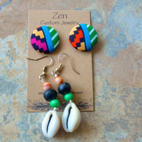 Fabric Earrings, African Jewelry, Gift Set, African Earring Set, Neo Soul Earrings, African Jewelry, Button Earrings