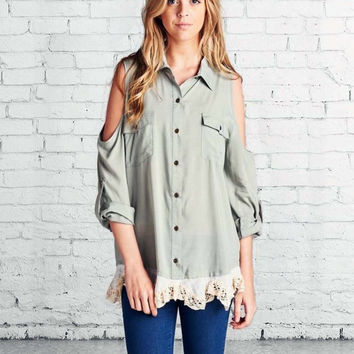 Foxly Lace Top in Sage