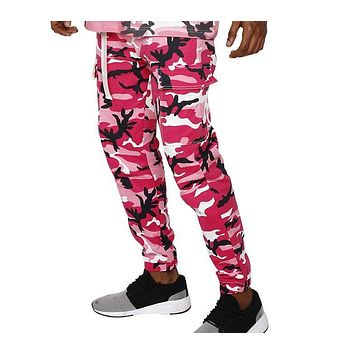 Fashion pants men pink yellow camouflage pants men street wear fashion high quality