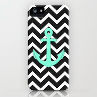 Tiffany Turquoise Anchor Black Zigzag Pattern iPhone Case by RexLambo