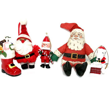 Santa Christmas Ornaments 1970s 1980s Red White Holiday Decor Hallmark
