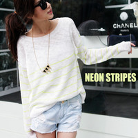 Bright Neon Stripes Knit Sweater - Mexy  - New fashion clothing & accessories for smaller size women like you - Mexy Shop