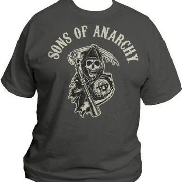 Sons of Anarchy S.O.A. Beige Logo Men's Charcoal T-Shirt - Sons of Anarchy - | TV Store Online