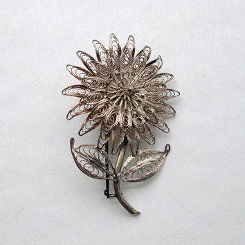 Siam Sterling Silver Cannetille Figree Floral Brooch Vintage Jewelry
