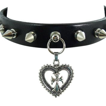 Gothic Alchemy Gothic Sacred Heart Charm Spike Leather Choker Collar Necklace