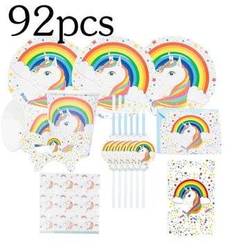 92pcs Unicorn Theme kids happy birthday party decoration plate cup straw napkins loot bags for 12 people party supplie