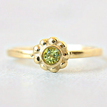 Peridot Engagement Ring Peridot 14k Yellow Gold Ring Alternative Diamond Ring Made in Your Size Peridot Engagement Ring August Birthstone
