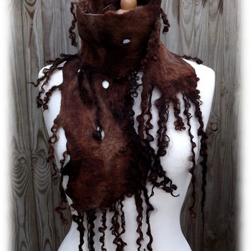 Winter Trees -Deep Forest Brown Felted Scarf -woodland scarf - leaf scarf - brown scarf - rustic scarf