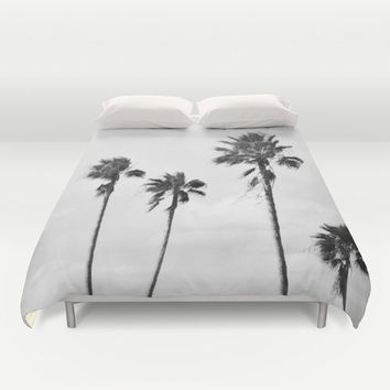 Black Palms - Duvet Cover, Light Gray Tropical Palm Trees Bedding, Beach Surf Decor Boho Chic Bed Blanket Throw Accent. Twin Full Queen King