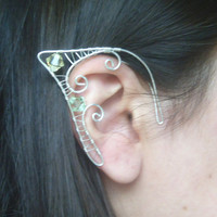 Silver Plated Handmade Wire Wrapped Elf Ear Cuffs With Mint Green & Lemon Yellow Swarovski Elements, Wire Weave, Spiral, Elven Ears, LARP
