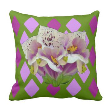 Digitalis Purpurea Purples Diamonds Throw Pillow