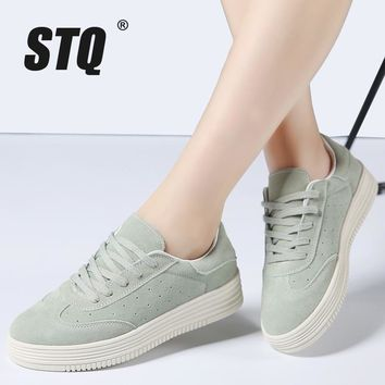 STQ 2017 Autumn women casual sneakers shoes lace up suede leather flats shoes women pl