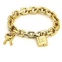 Louis Vuitton Padlock and Keys Charm Bracelet in 18k Yellow Gold with Box